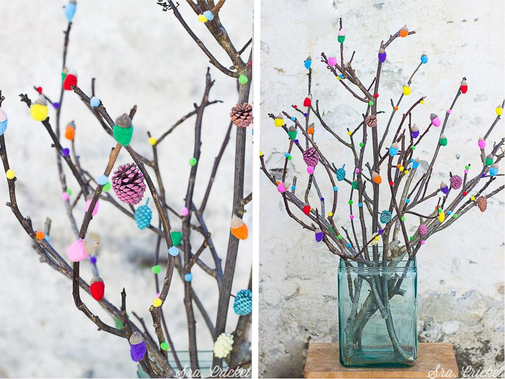 arbol de bellotas de colores