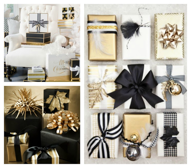 christmas gold black white