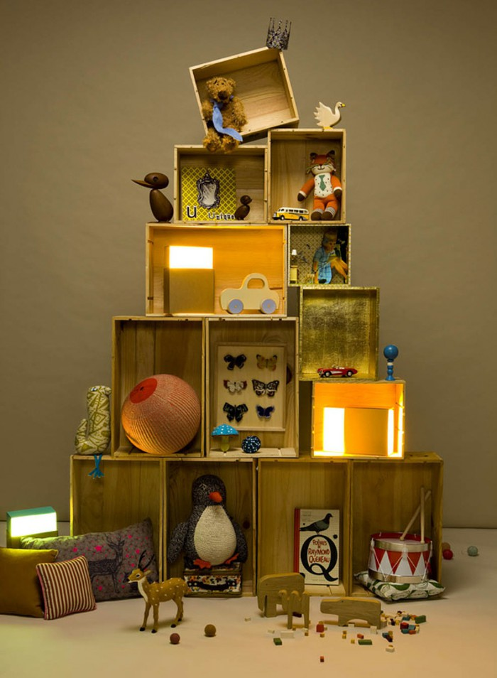 DIY decoration ideas Christmas Christmas time Christmas tree wooden boxes yourself DIY