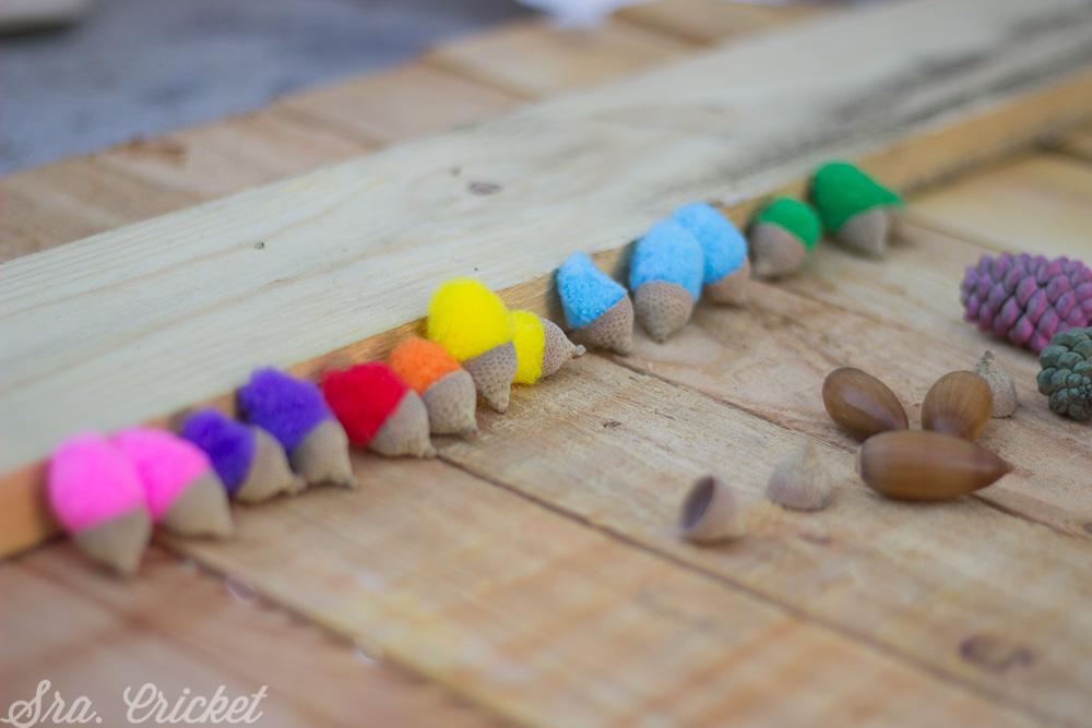 hacer bellotas de colores