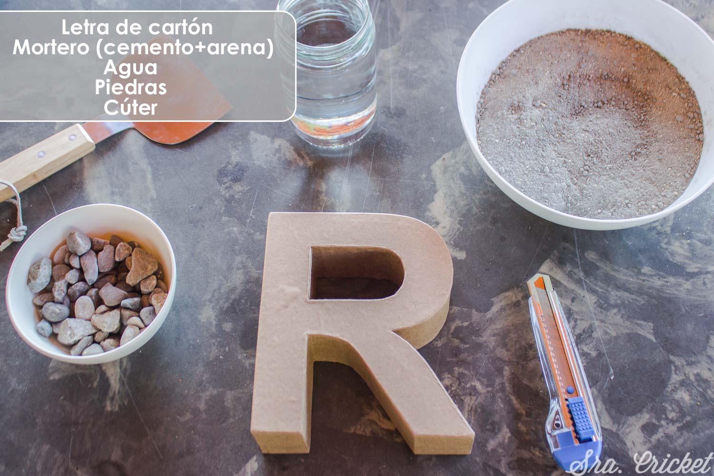 hacer letra de cemento