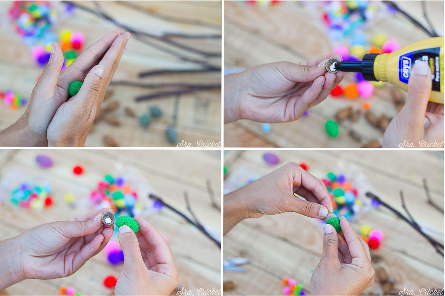 manualidades para niños bellotas de colores