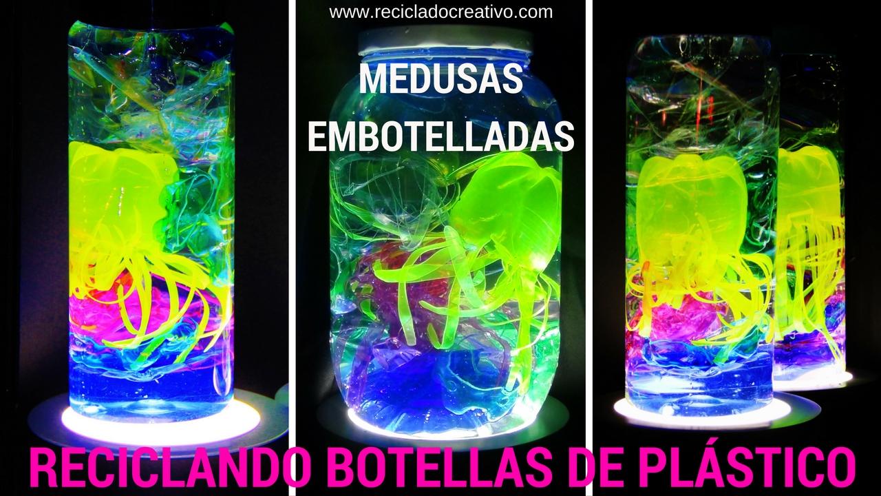 Medusas con botellas de plástico y embotelladas