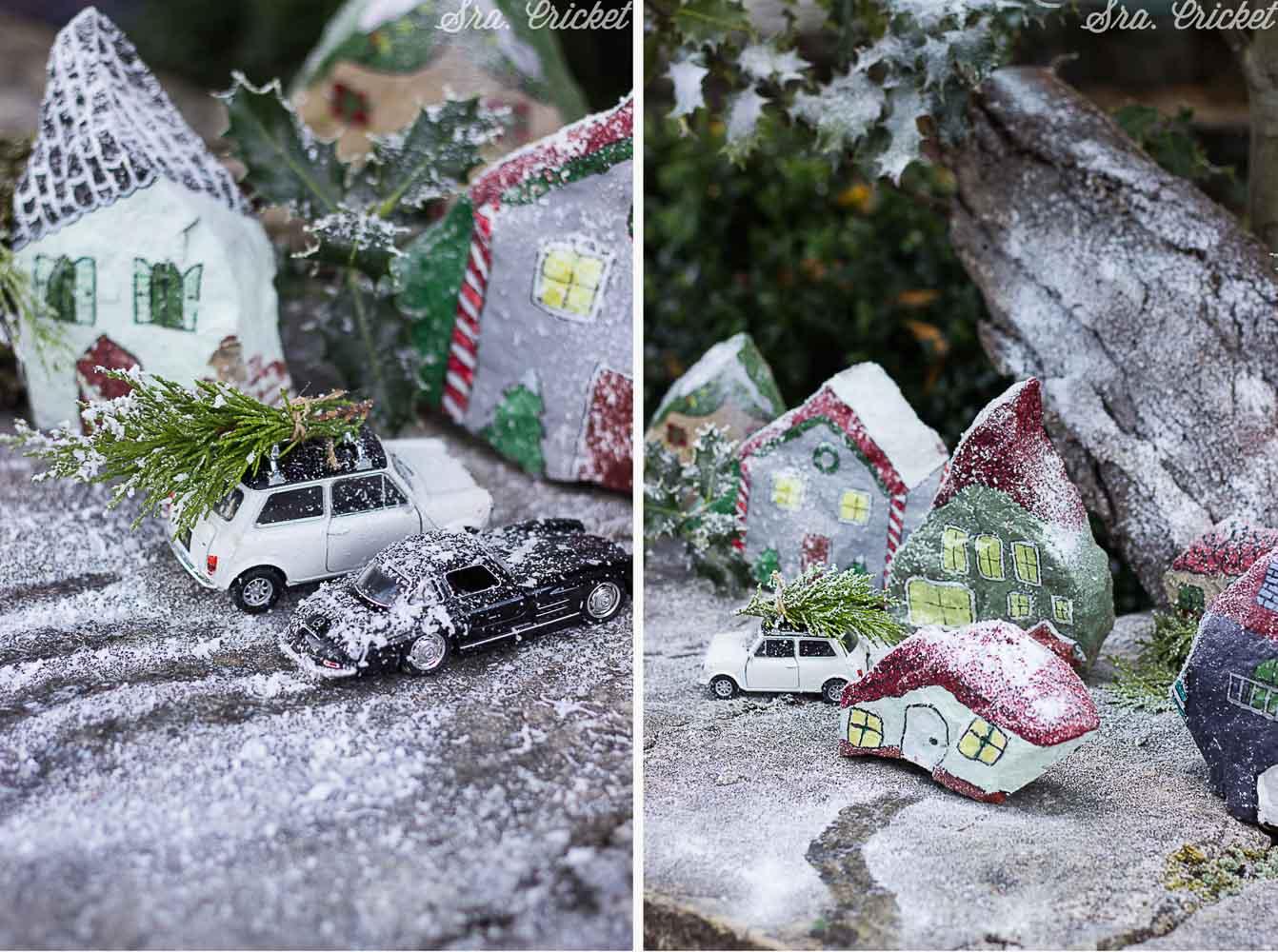 paisaje navideño con piedras