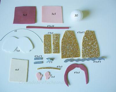 piezas y medidas para hacer fofu-angelitos de goma eva