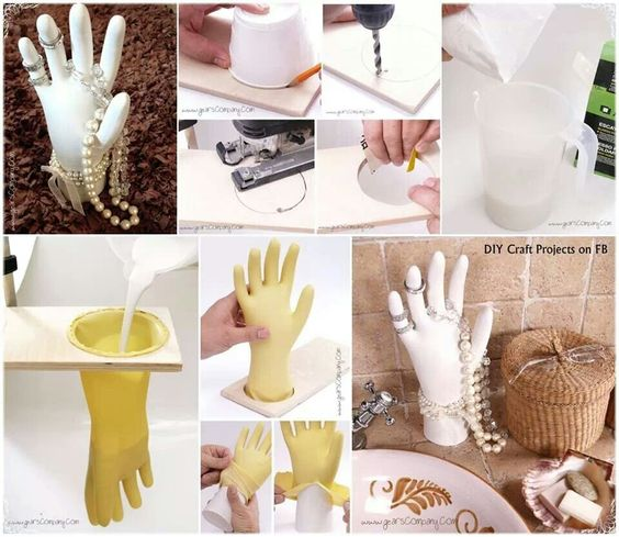 Plaster hand jewelry display: