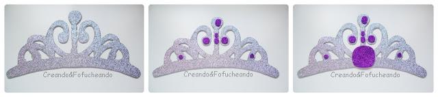 paso a paso decoramos la corona de la princesa sofia en Goma eva
