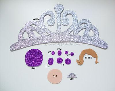 piezas y medidas corona princesa sofia en Goma eva