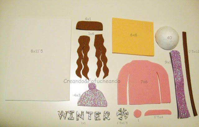 piezas y medidas para decorar libreta con fofucha de invierno