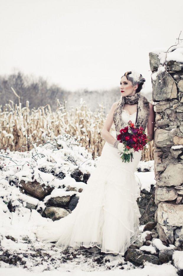 winter bride shooting