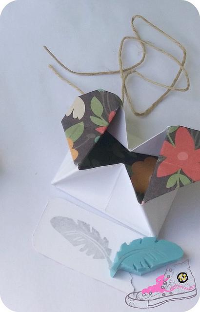 cajita corazón de origami