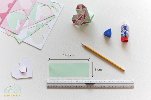 DIY servilletero corazón geométrico de papel