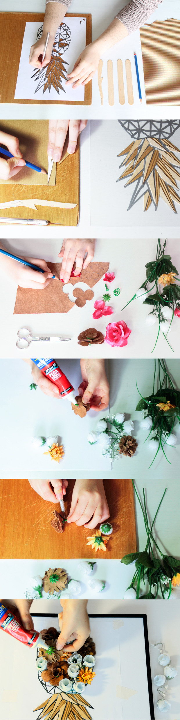como hacer piña decorativa con flores.jpg
