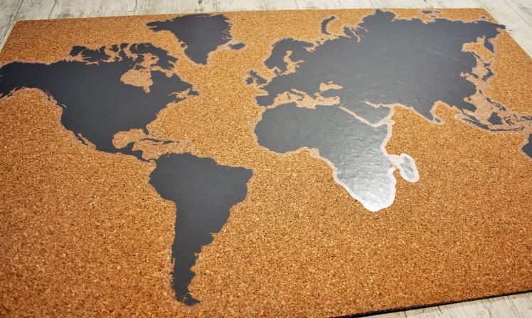 Mapa mundi de corcho