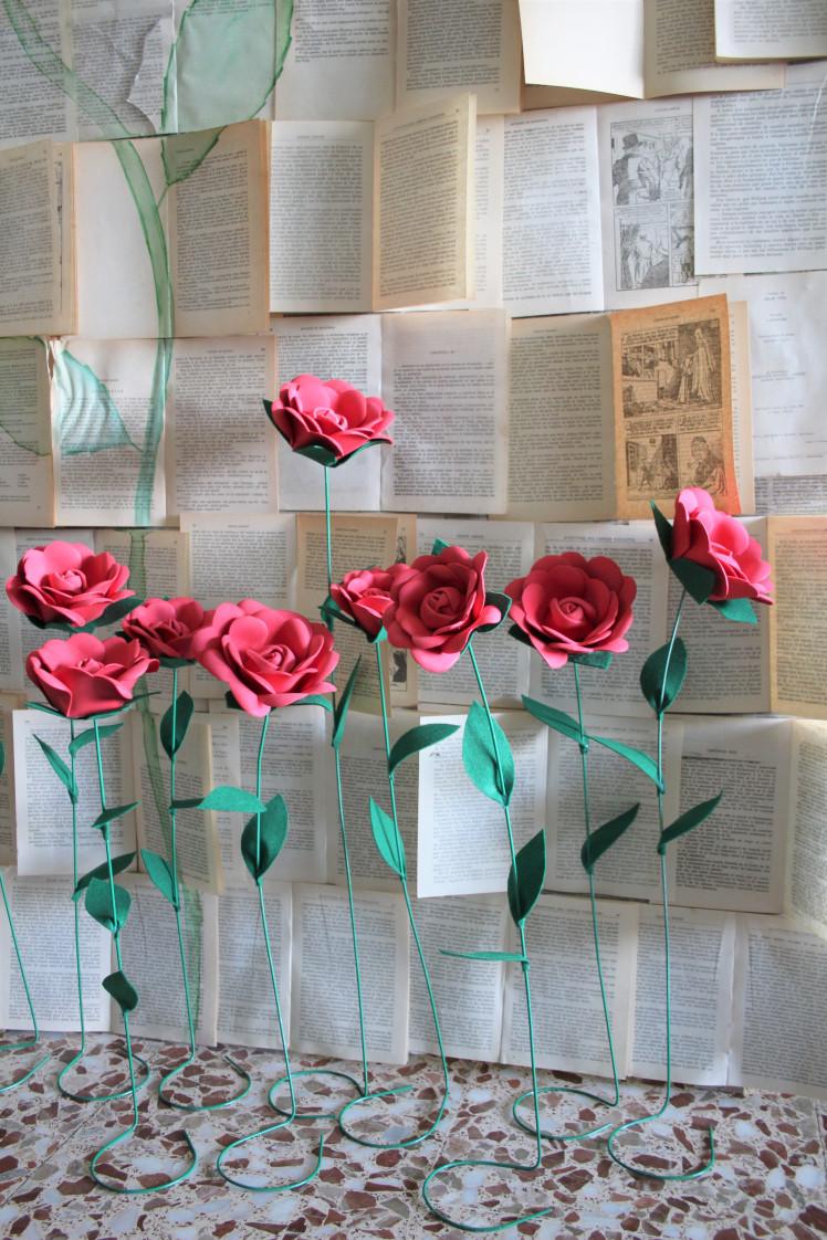 Rosas con pie