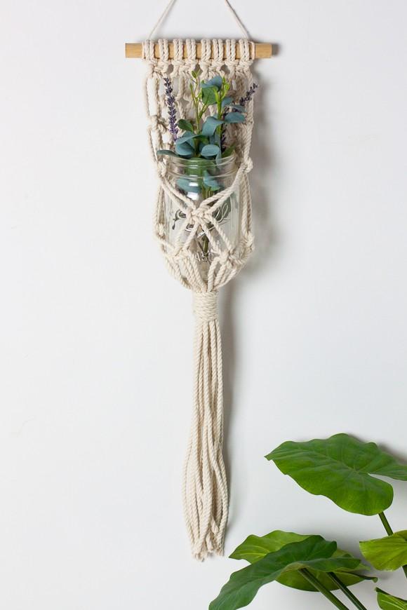 Colgante de macramé para plantas crasas