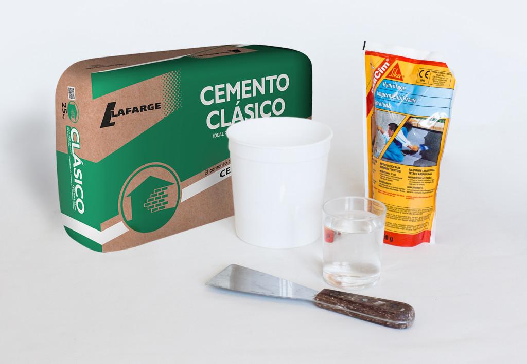 Materiales maceta cemento
