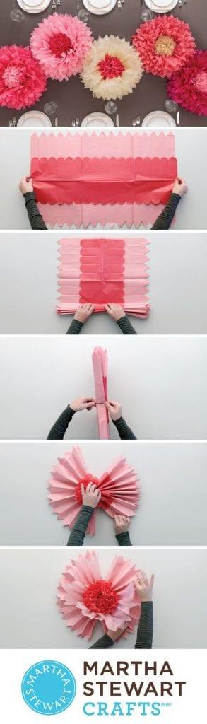 decoracion para fiestas DIY - flores gigantes de papel de Martha Stewart