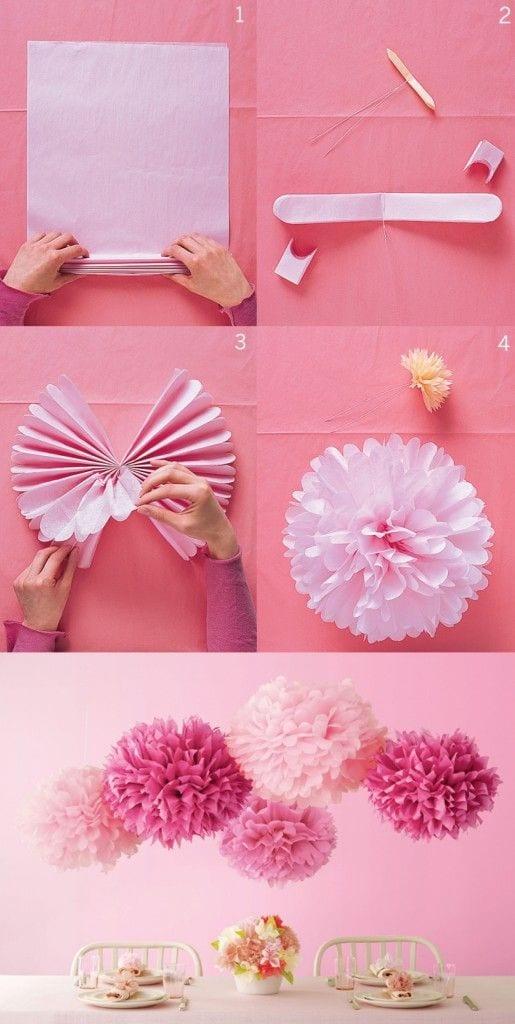 decoracion para fiestas DIY - pompones de papel de La fiesta de Olivia