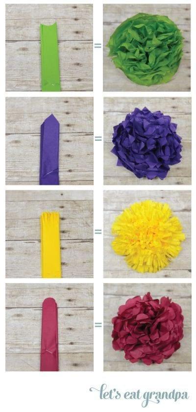 decoracion para fiestas DIY - pompones de papel de lets eat grandpa