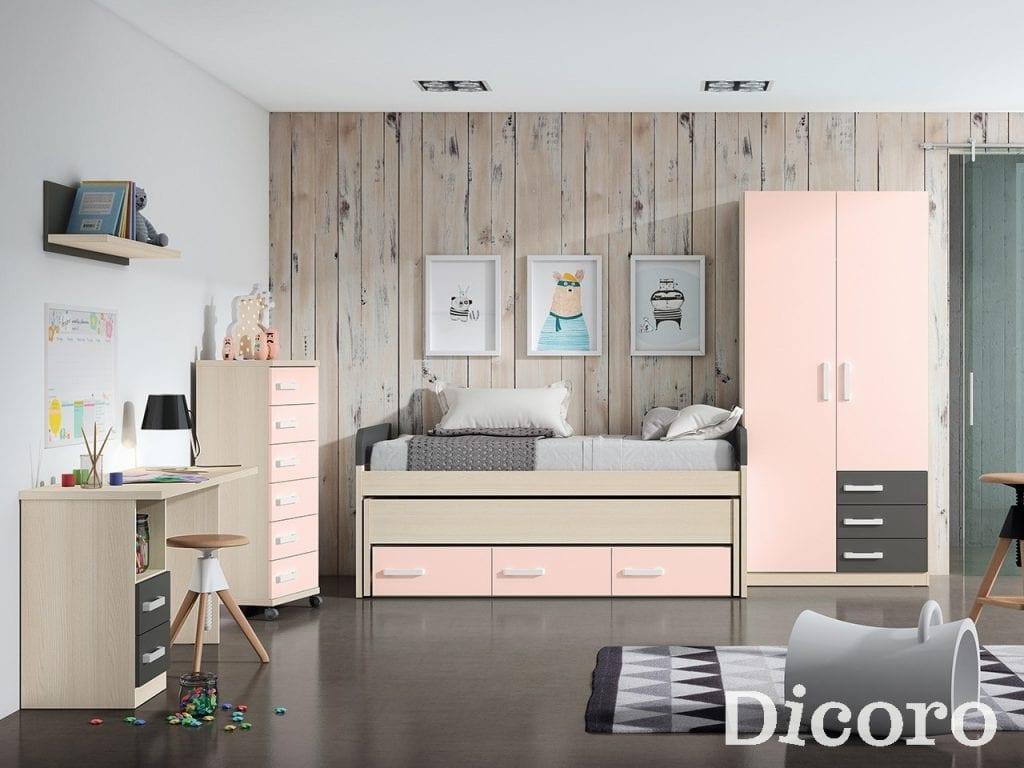 Dormitorio juvenil pastel