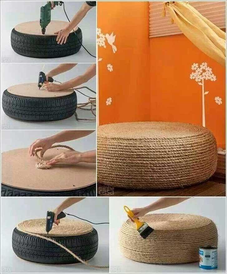 Cómo hacer un puf con un neumático usado