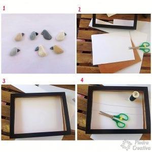 DIY paso a paso cuadro de pájaros en piedras-PiedraCreativa