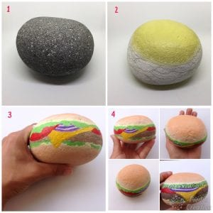 DIY paso a paso de hamburguesa en piedra pintada