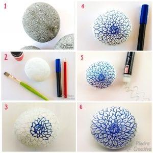 Paso a paso piedras pintadas flor azul con rotulador PiedraCreativa
