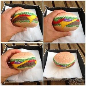 Como hacer un servilletero de hamburguesa en piedra pintada