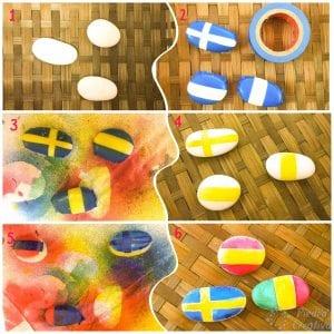 Banderas con piedras pintadas con spray
