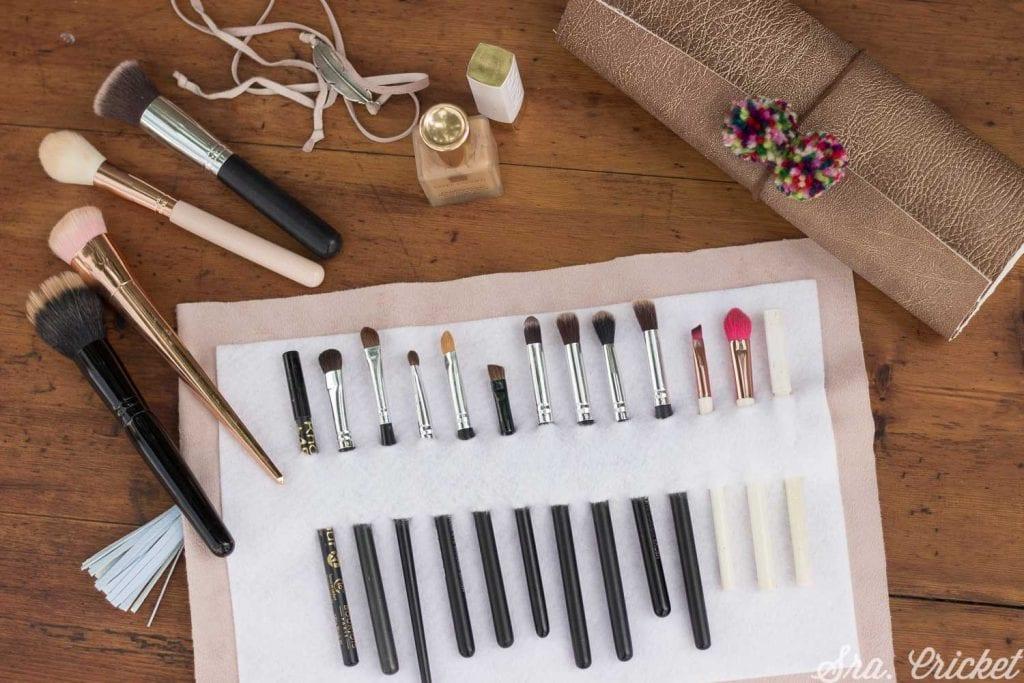 como hacer estuche brochas de maquillaje