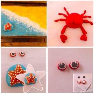 DIY cangrejo y estrella de mar en piedras pintadas
