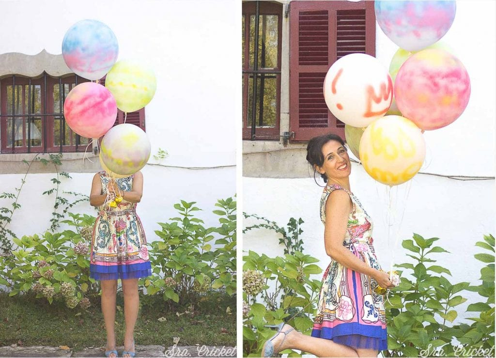 globos pintados con spray