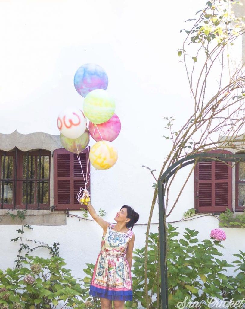 globos pintados con spray