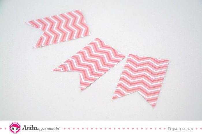 hacer banderines con papel scrap