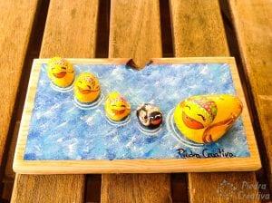 Manualidad patos pintados en piedras PiedraCreativa.com