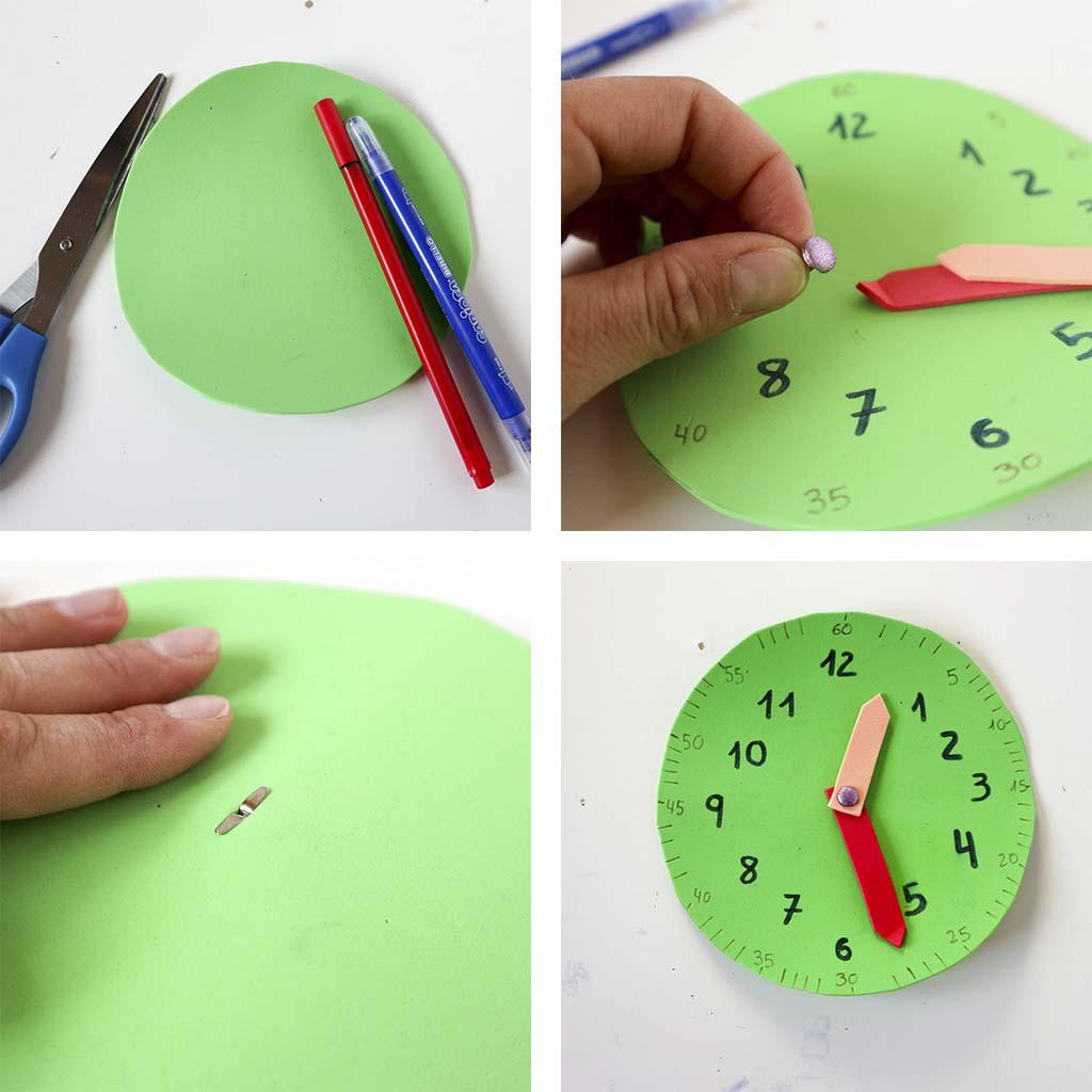 paso a paso reloj para aprender las horas