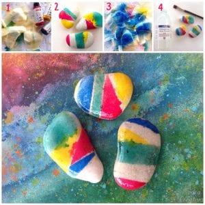 Paso a paso piedras pintadas con spray