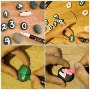 Pintar piedras con los peques sumas y restas