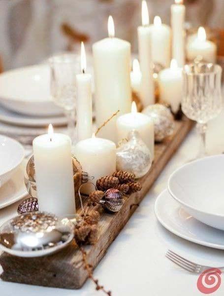 Camino de mesa con yute y velas