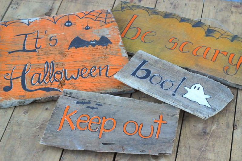 carteles de madera de halloween