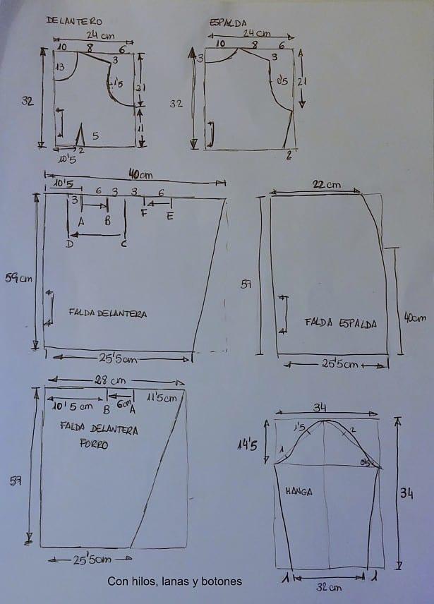Con hilos lanas y botones: DIY Vestido pata de gallo con pliegues delanteros