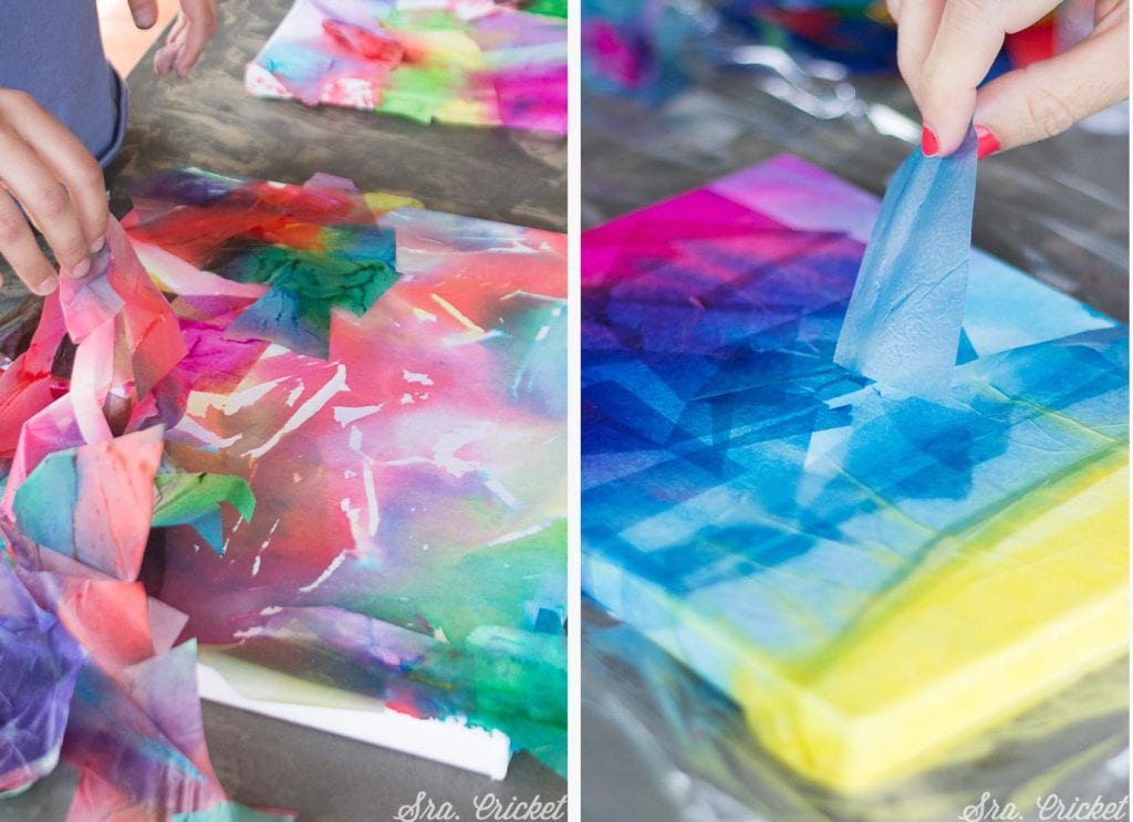 cuadros de papel seda manualidad niños