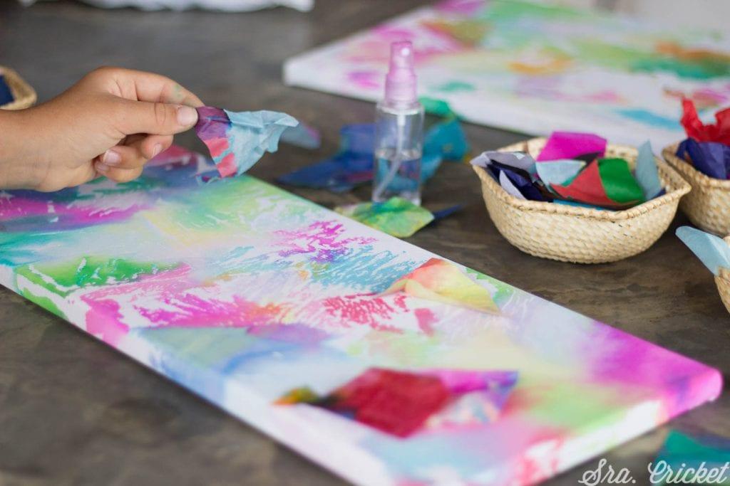 cuadros hechos con papel seda