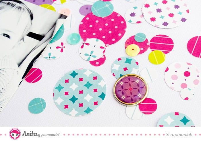 decorar layout con brads lentejuelas