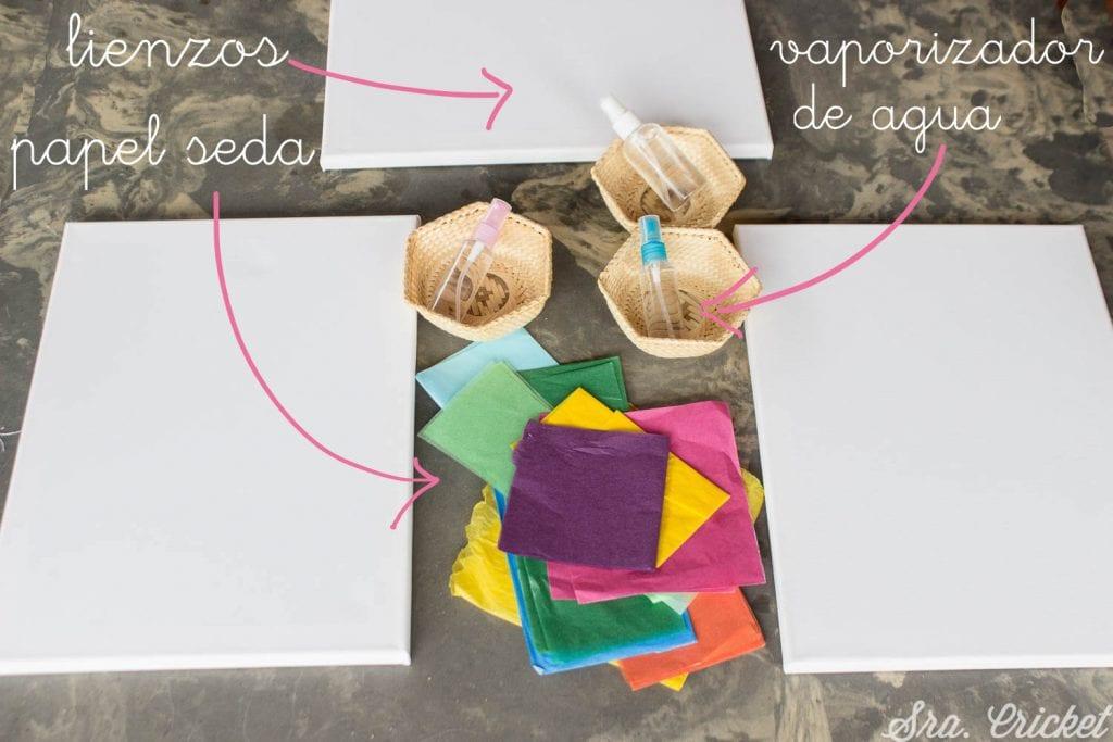 hacer cuadro con papel seda