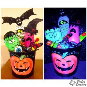 Manualidad Halloween pinturas fluorescentes de PiedraCreativa