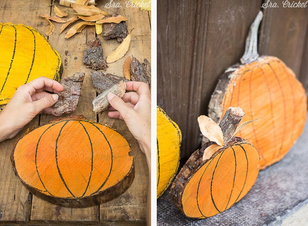 manualidades para halloween calabazas con troncos