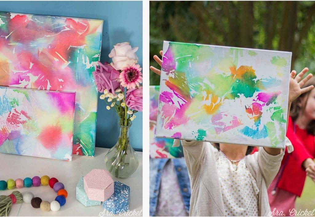 manualidades para niños cuadro de papel seda